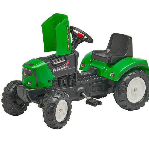 Poza cu Tractor Falk pentru copii, cu pedale si remorca, Verde
