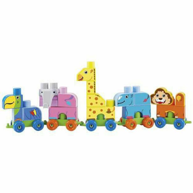 Picture of Set de Construit Maxi Cuburi Colorate cu Tren si Animale de la Zoo Abrick