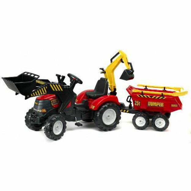 Poza cu Tractor Powerloader Rosu cu Cupa Functionala, Excavator, Remorca, Grebla si Lopata