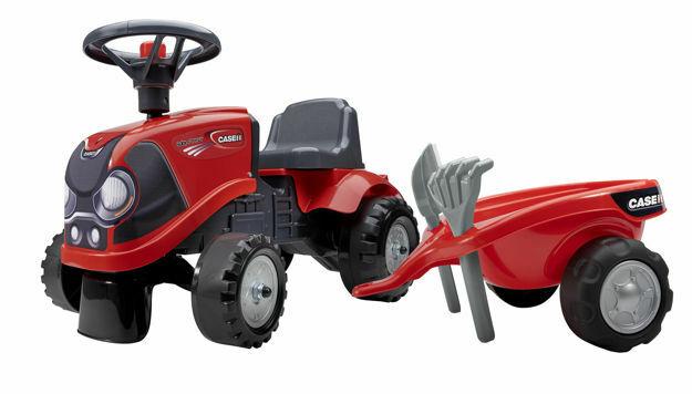 Picture of Tractor Falk Case rosu cu trailer, lopata si grebla