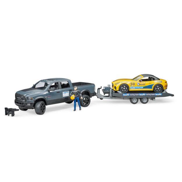 Poza cu Bruder RAM 2500 Power Wagon cu remorcă pentru transport auto 02504