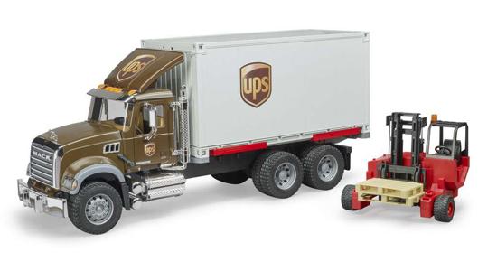Poza cu Camion UPS Bruder MACK Granite UPS cu stivuitor și paleți 02828