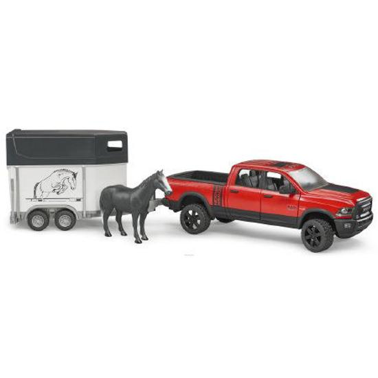 Снимка на Bruder RAM 2500 Pickup Truck Wagon cu remorcă pentru cai 02501