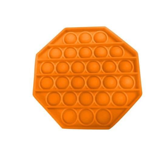 Снимка на Jucarie antistres din silicon, Pop it now, forma octogon Portocaliu, 12.7 cm