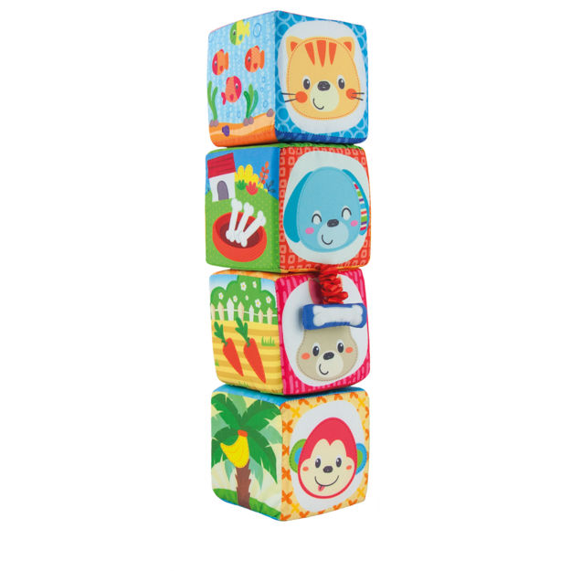 Poza cu Set 4 cuburi stivuibile Winfun, material textil, pentru bebelusi, multicolor