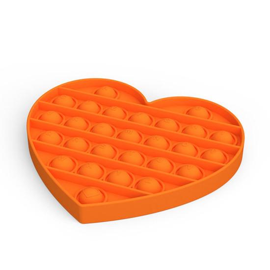 Снимка на Jucarie antistres din silicon, Pop it now, forma inima Orange, 13 cm