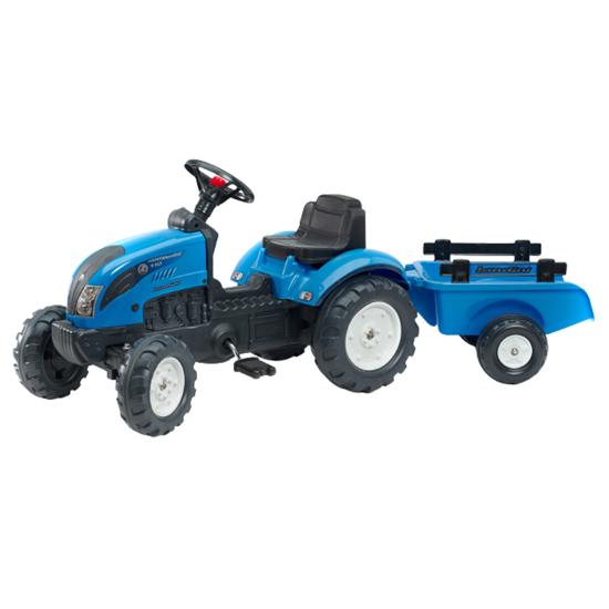 Снимка на Tractor cu pedale pentru copii, Falk, Landini cu remorca, albastru